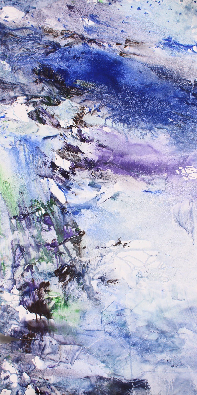 Yu Zhao, Casacade glacée, tempera/paper/canvas, 150x75cm, 2015