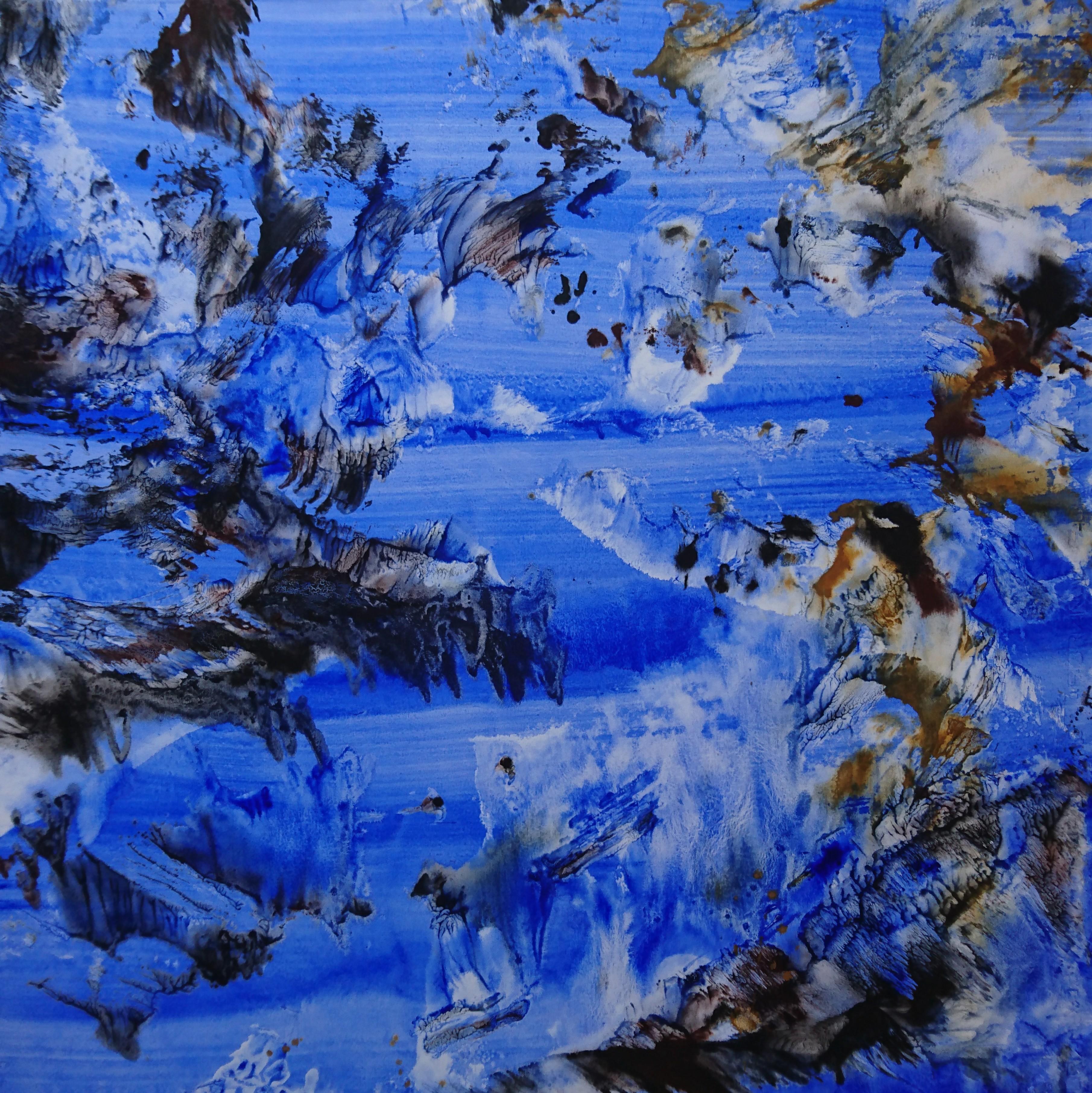 Yu Zhao, Mer ciel mouettes, tempera/paper/canvas, 75x75cm, 2018