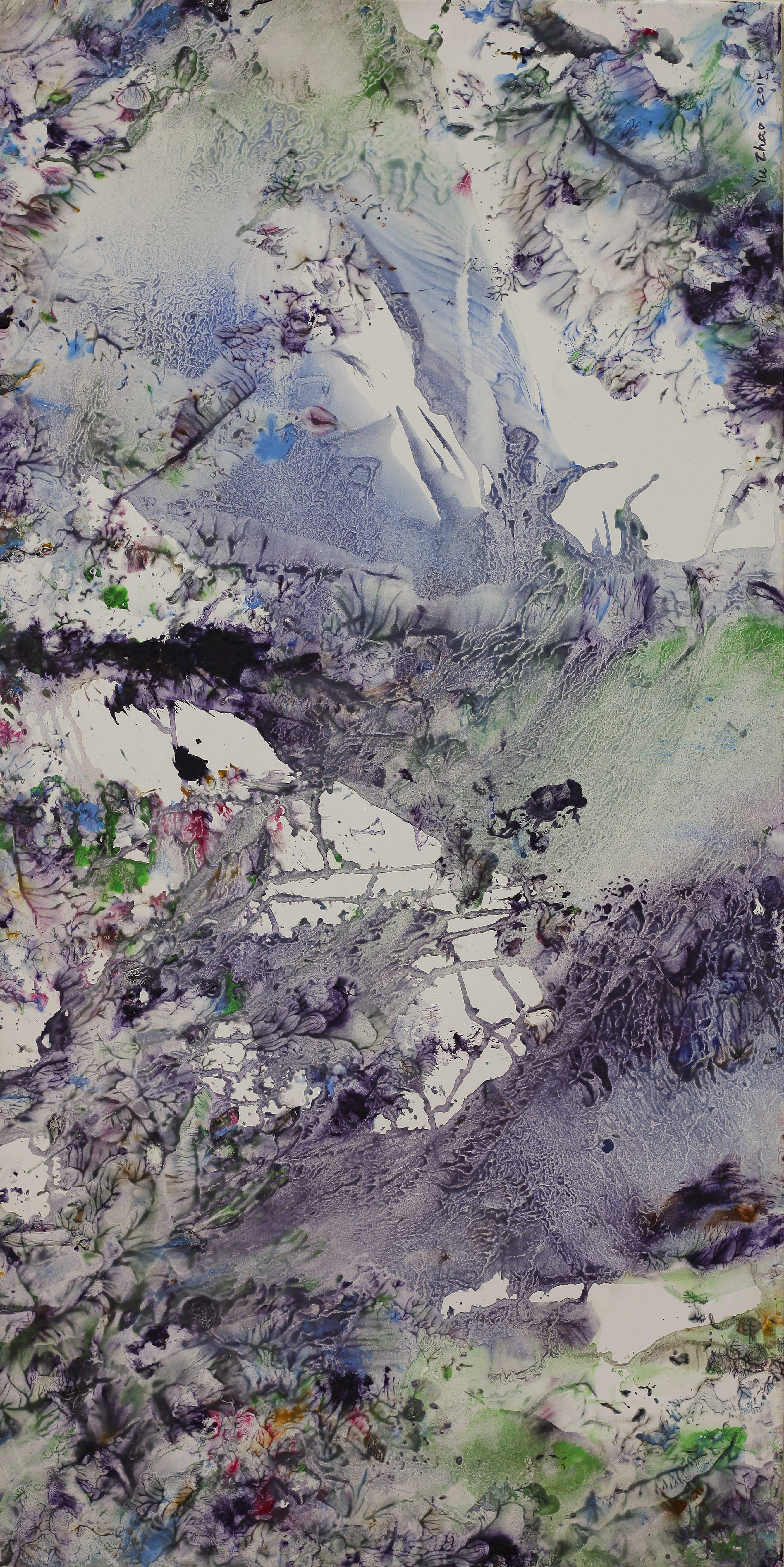 Yu Zhao, Arbre printanier, tempera/paper/canvas, 100x50cm, 2015