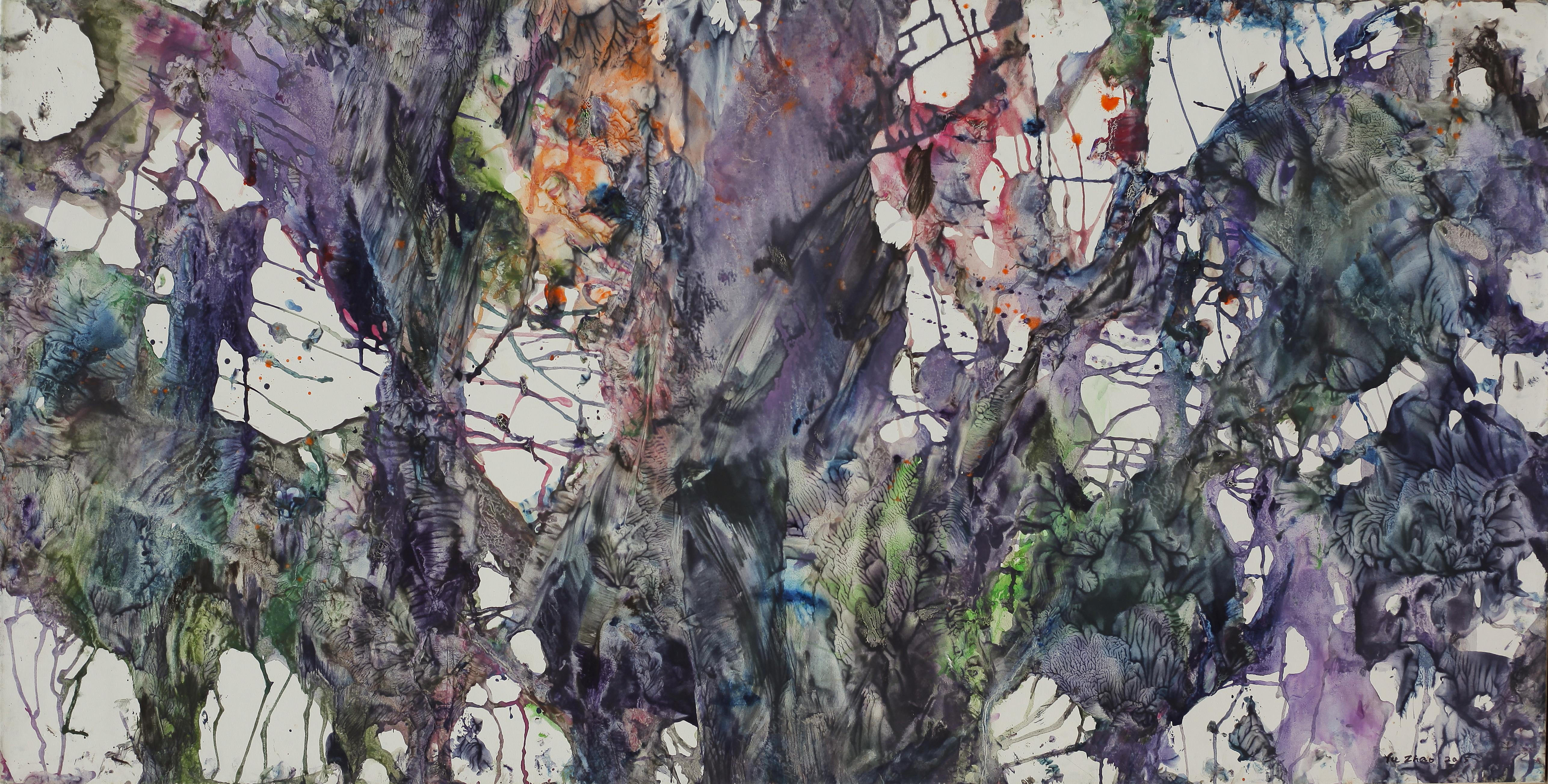Banian, tempera/paper/canvas, 150x75cm, 2015, Yu Zhao