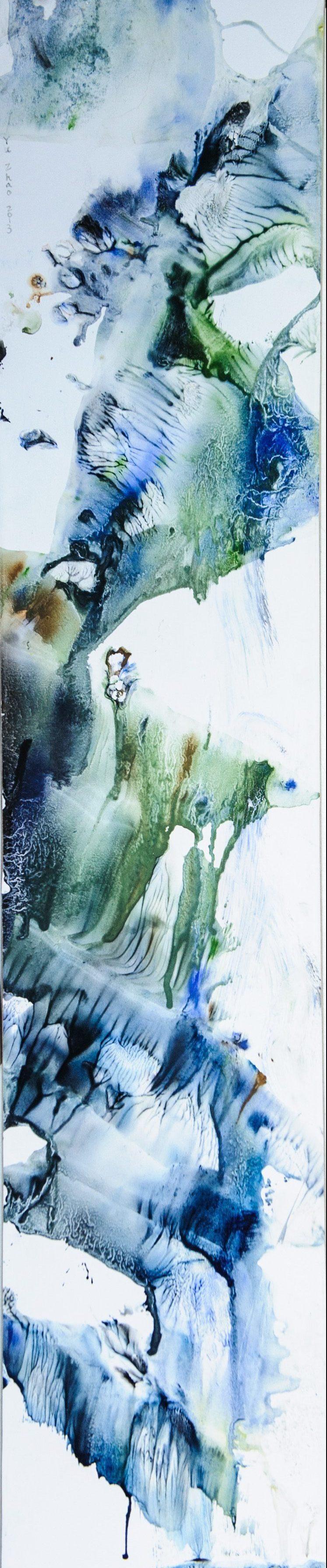 Yu Zhao, Cascade, tempera/paper/canvas, 130x25cm, 2013, private collection