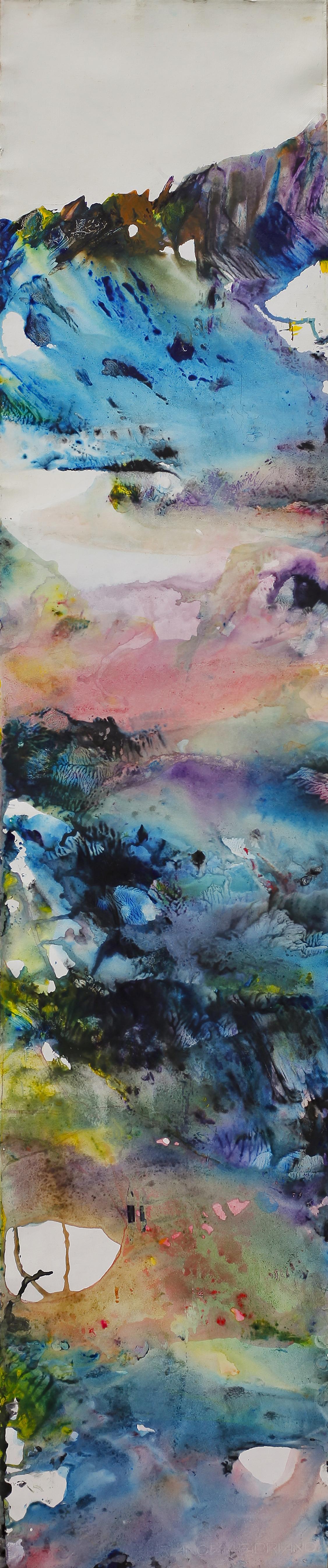 Yu Zhao, Champ printanier, acrylic/paper/canvas, 150x30cm, 2015