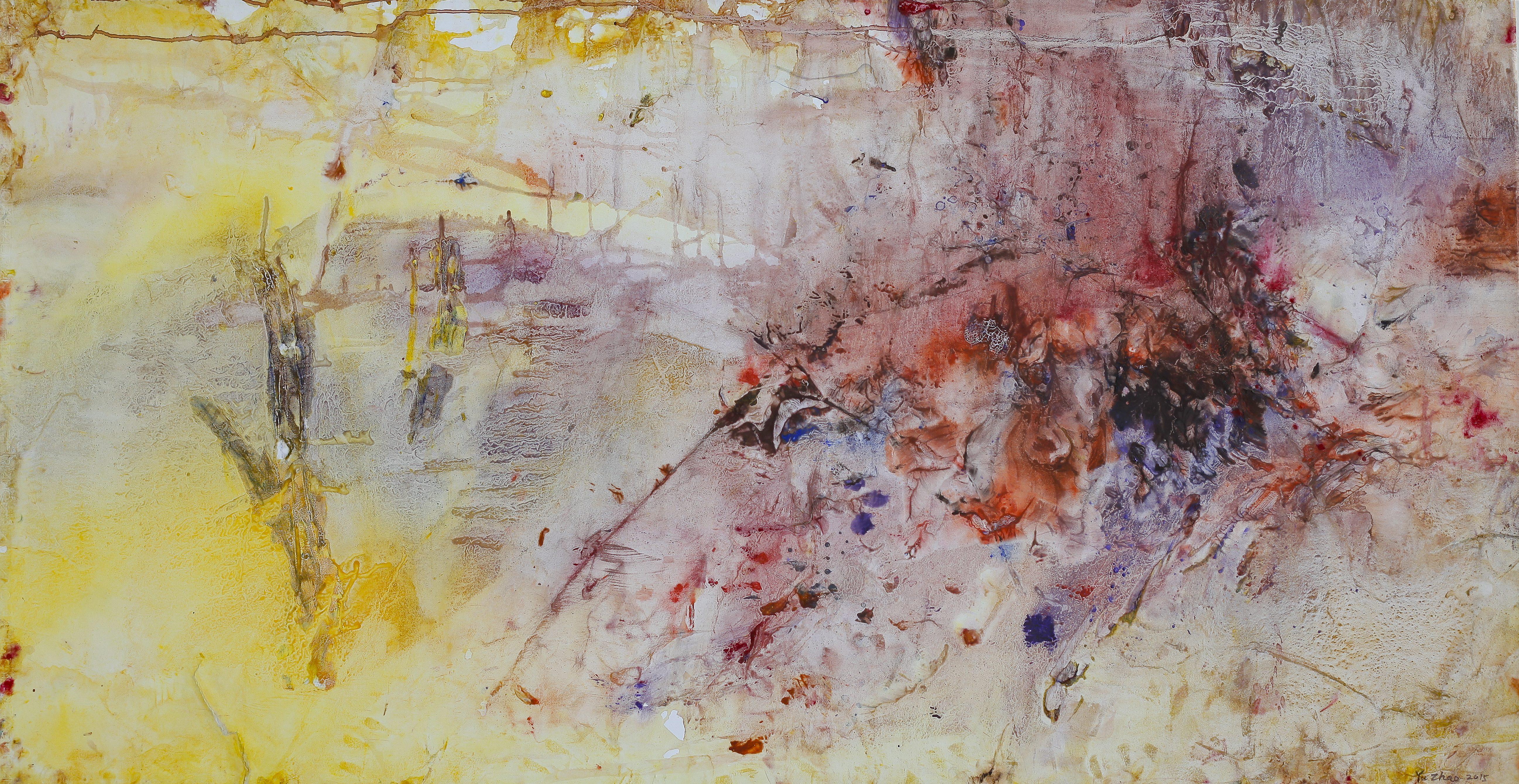 Yu Zhao, Venetian landscape, tempera/paper/canvas, 150x75cm, 2017