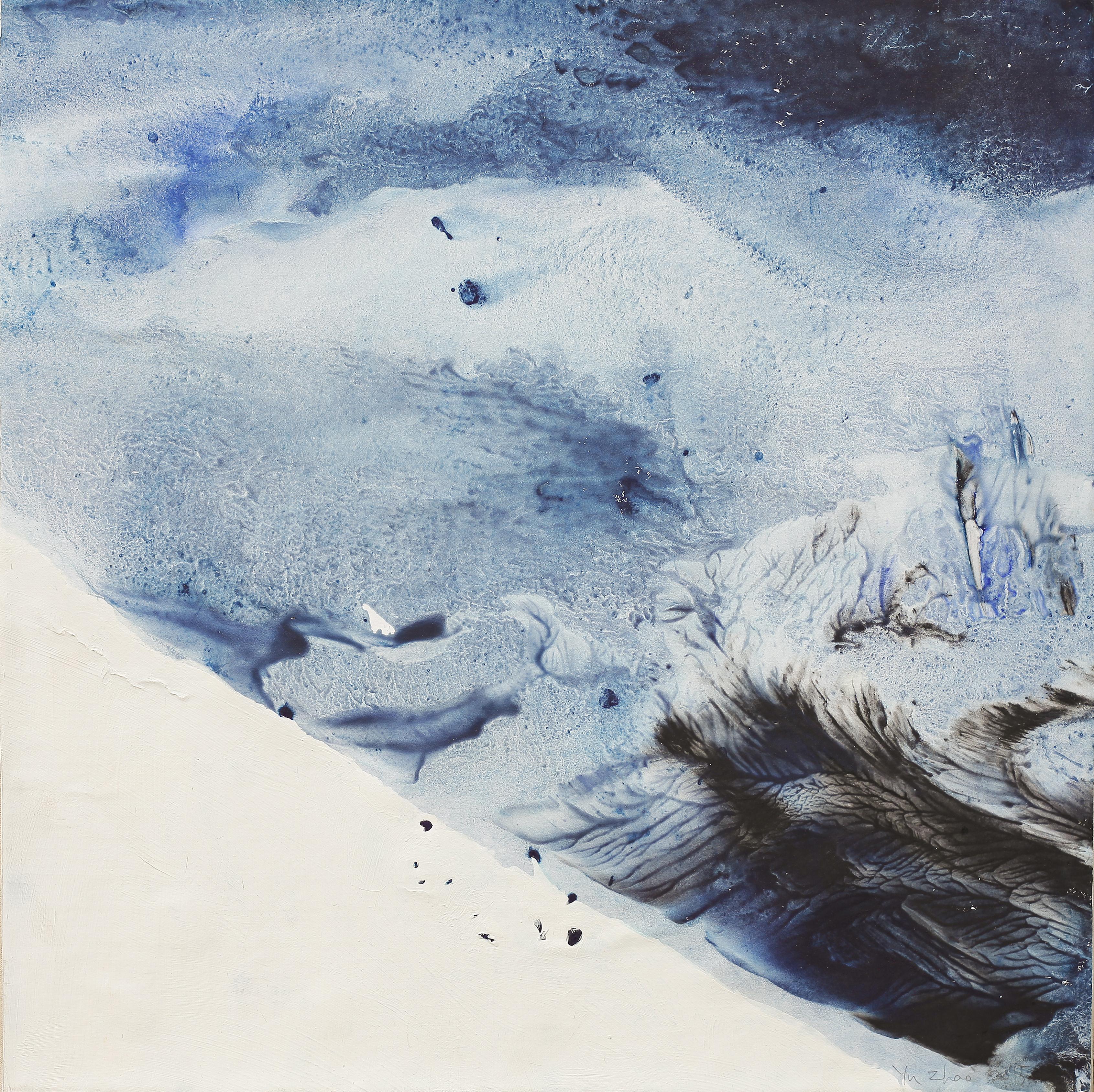 Fond de l'océan, tempera/paper/canvas, 50x50cm, 2015, Yu Zhao