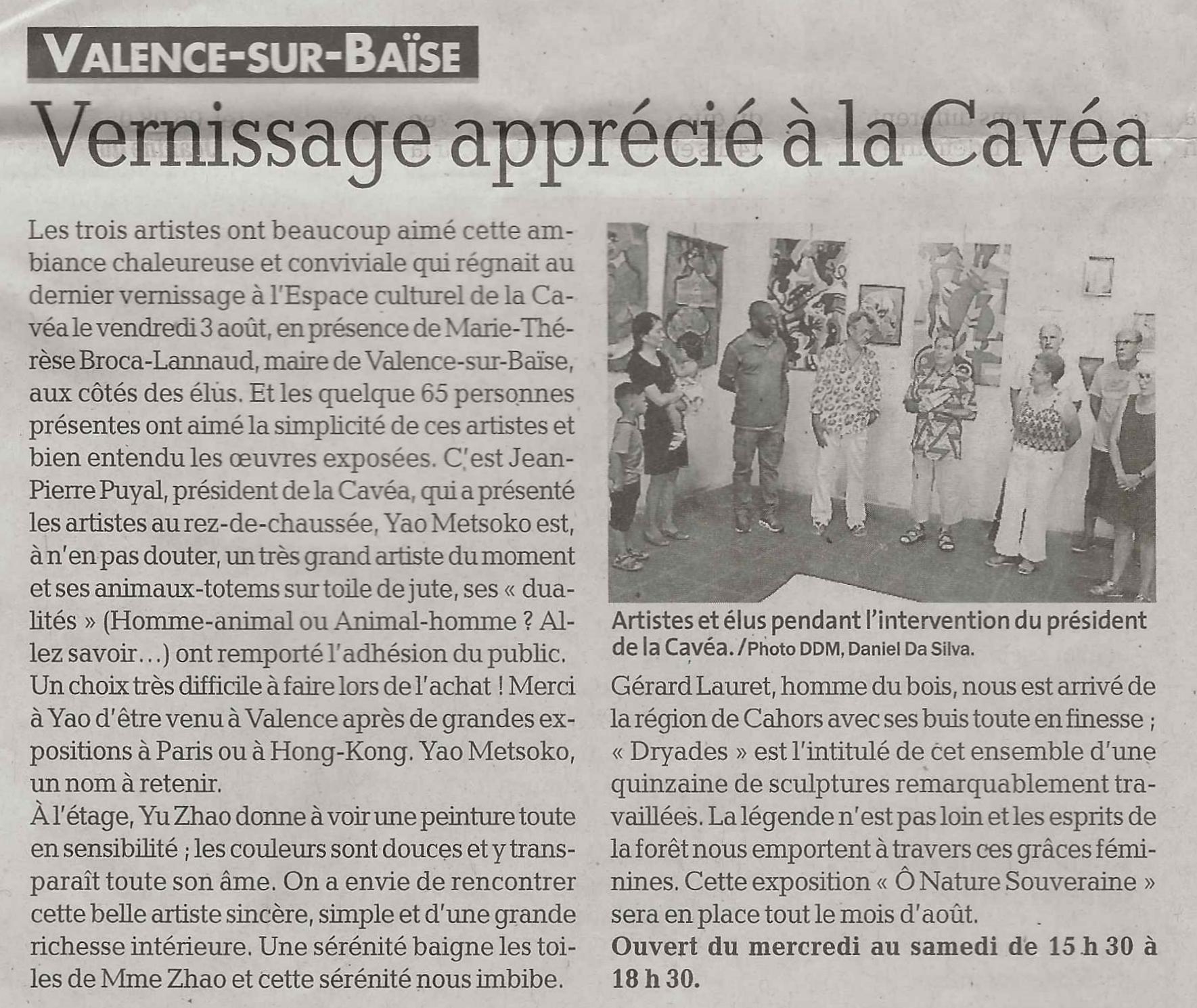 """""""Vernissage apprécié à la Cavéa"""", La dépêche du midi, 8/8/2018"""