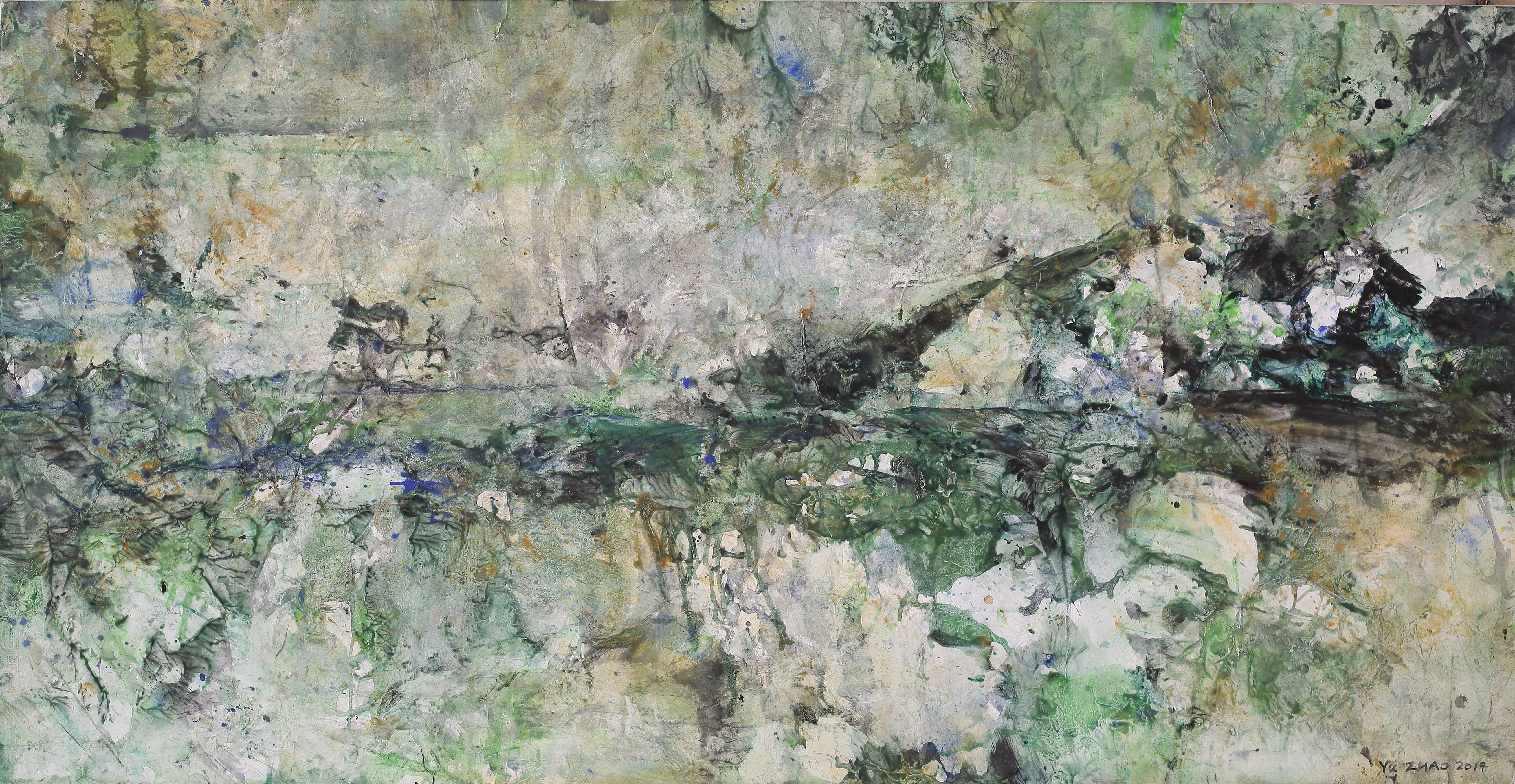 Yu Zhao, L'après-midi d'un faune, tempera/paper/canvas, 150x75cm, 2017