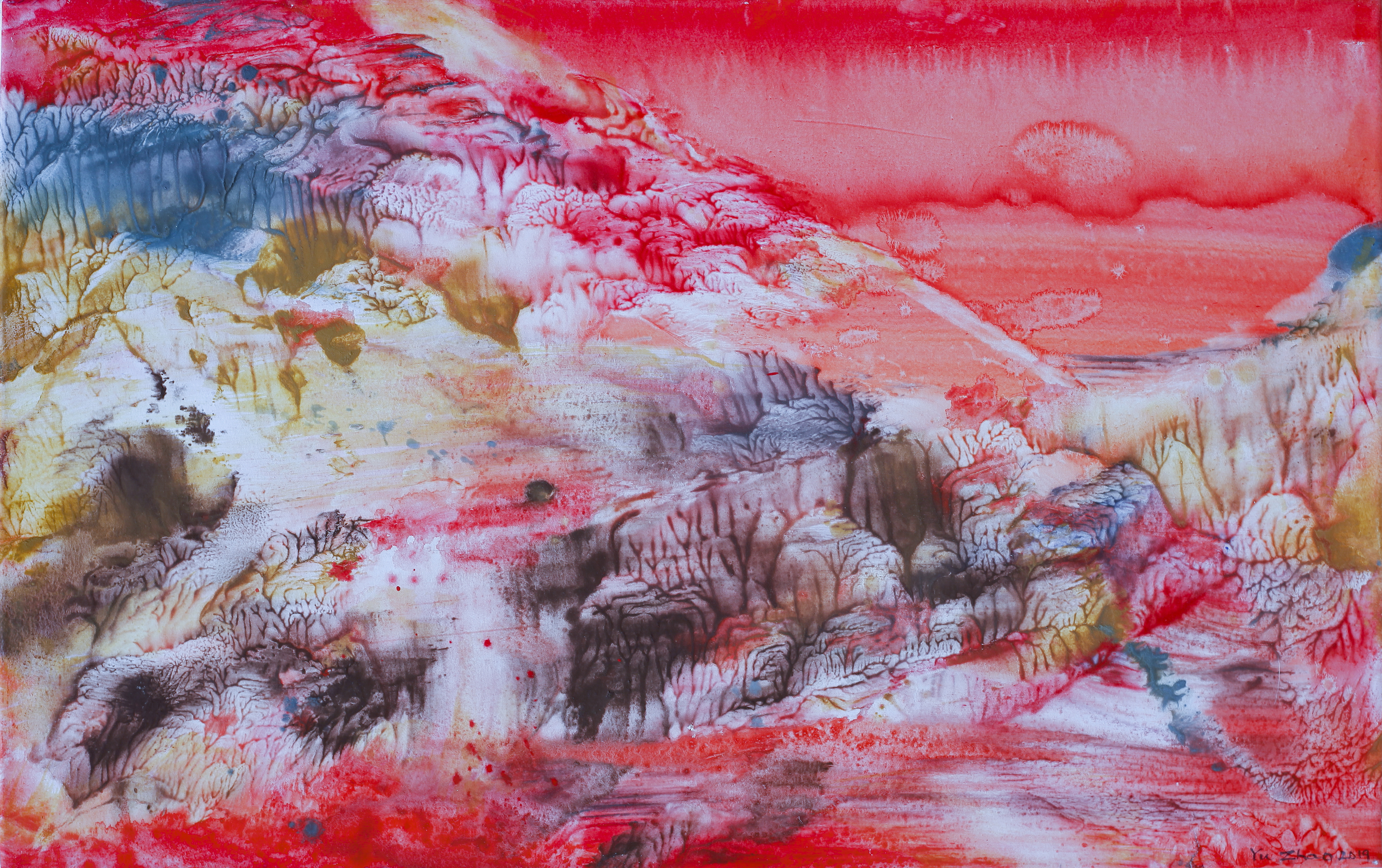 Yu Zhao, Village in peach flowers, tempera/paper/canvas, 35x20cm, 2019