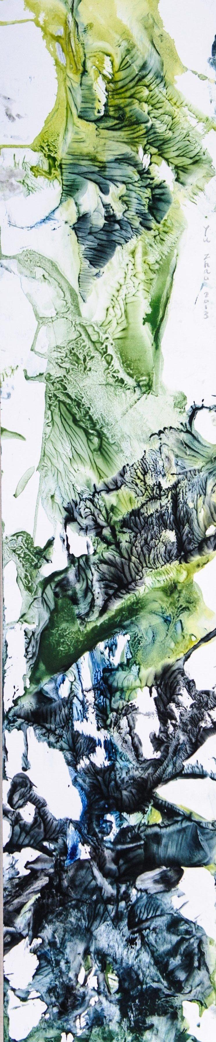 Plante tropicale, tempera/paper/canvas, 150x30cm, 2013, private collection, Yu Zhao