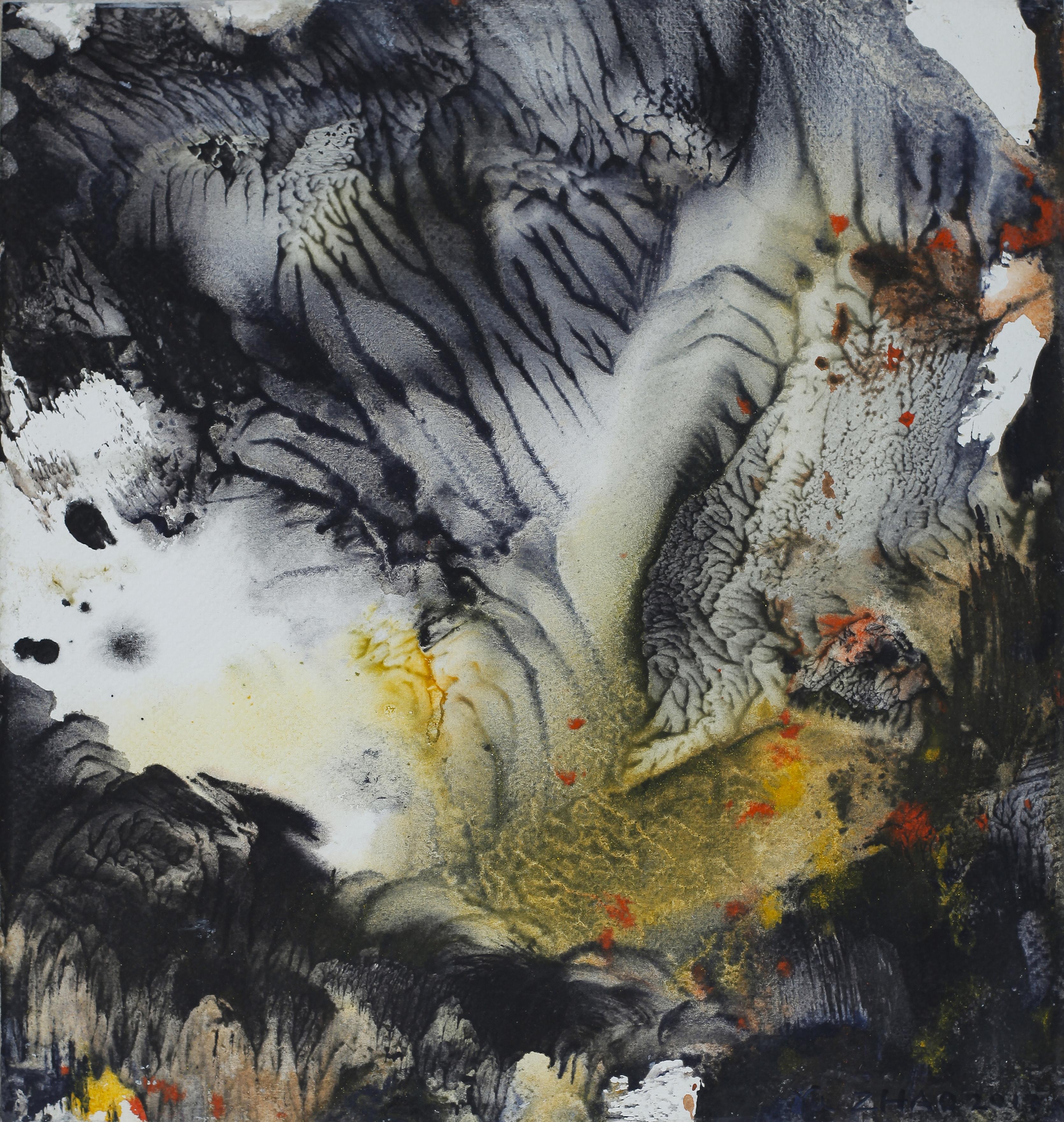 Yu Zhao, Prémisses du printemps, tempera/paper/canvas, 30x28cm, 2017