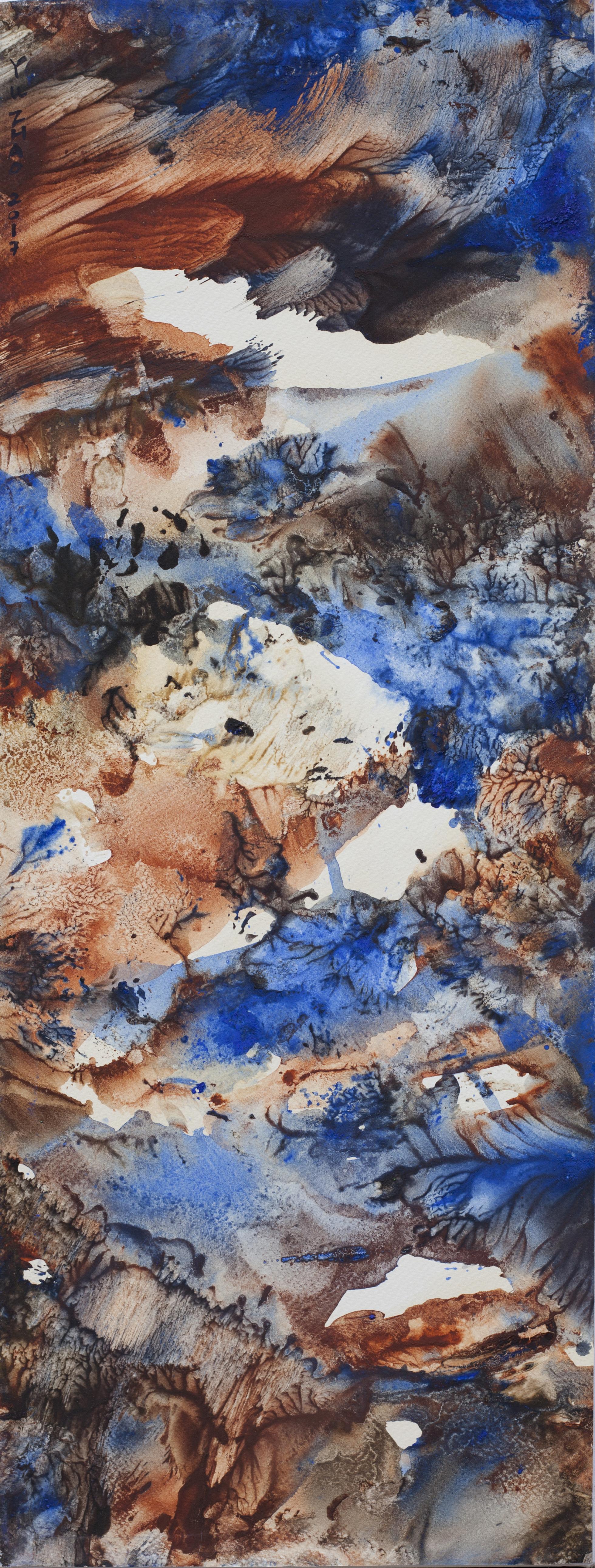 Temps antique, tempera/paper/canvas, 65x25cm, 2017, Yu Zhao