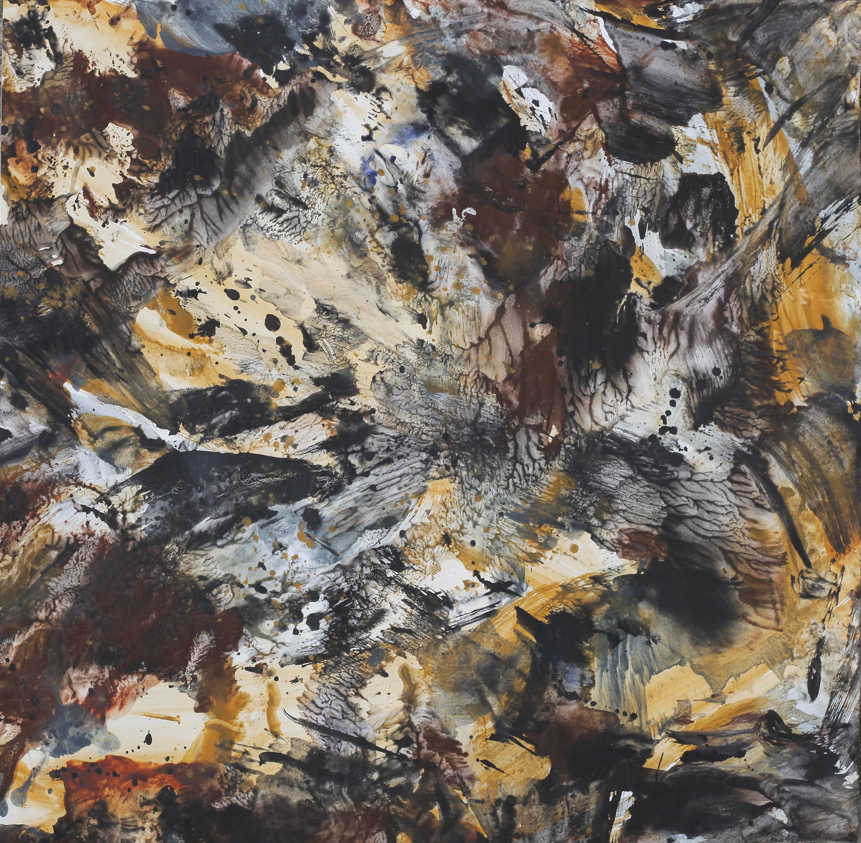 Yu Zhao, Tumult, tempera/paper/canvas, 30x30cm, 2019