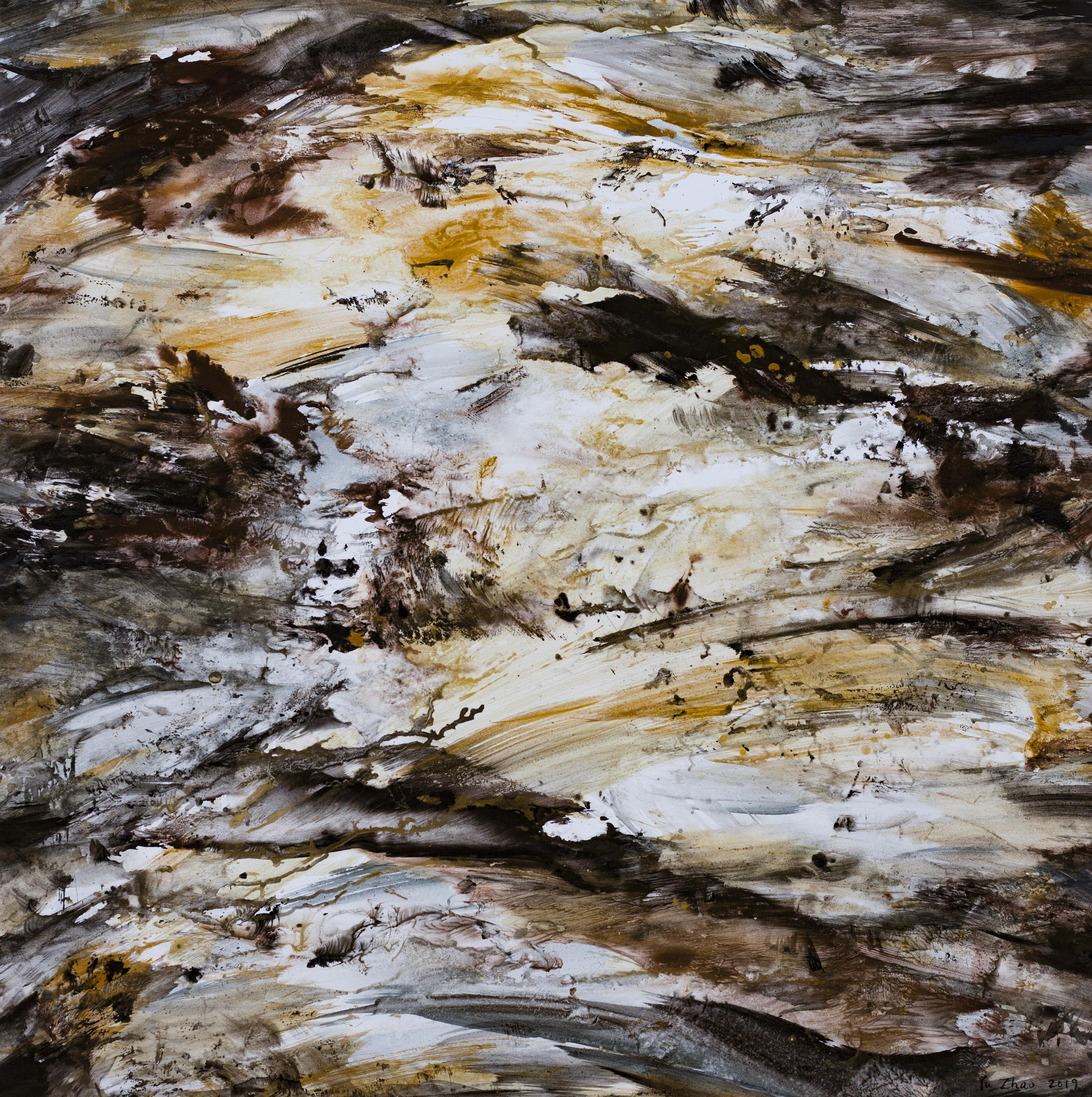Terre renaissante, tempera/paper/canvas, 100x100cm, 2019, Yu Zhao