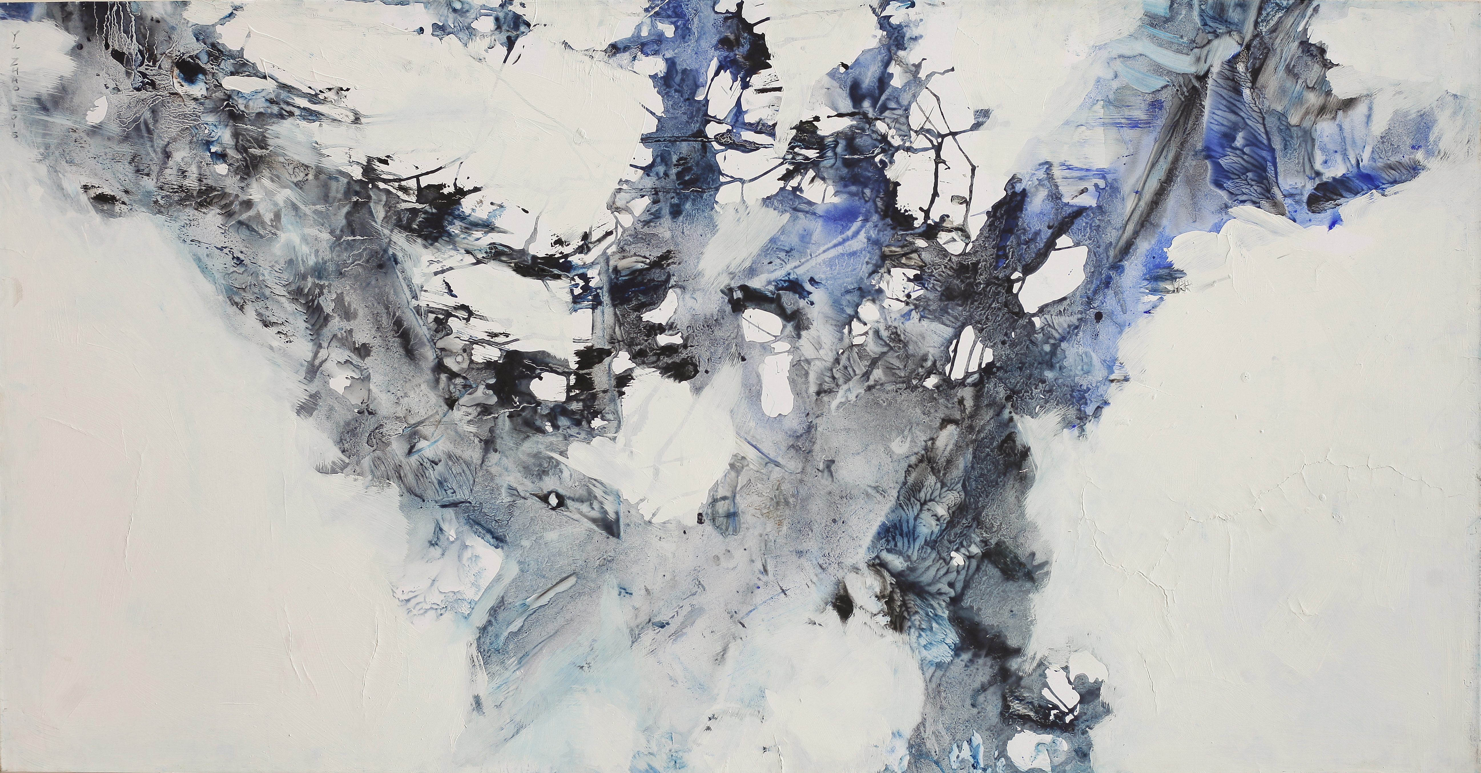 Vent-Neige-Arbre, tempera/paper/canvas, 150x75cm, 2015, Yu Zhao