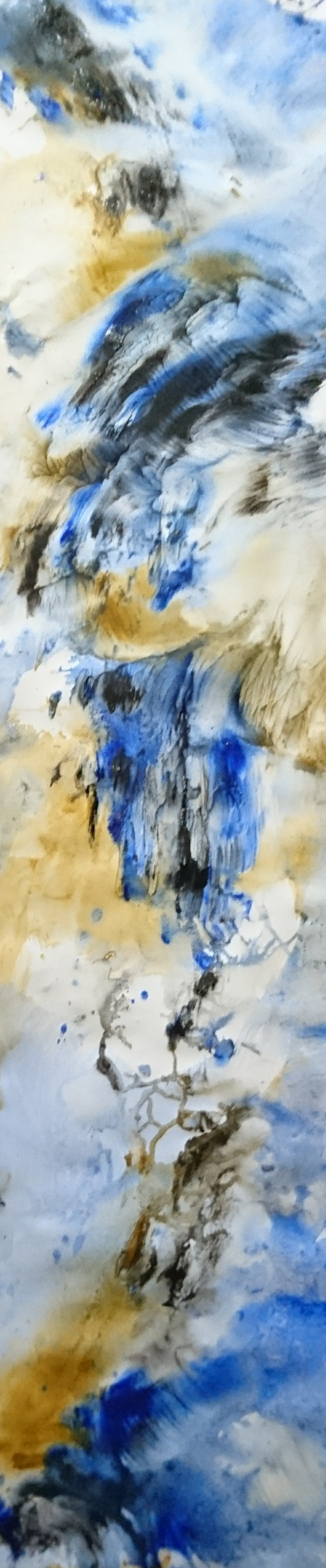 Yu Zhao, Bleu flux, tempera/paper/canvas, 150x30cm, 2017