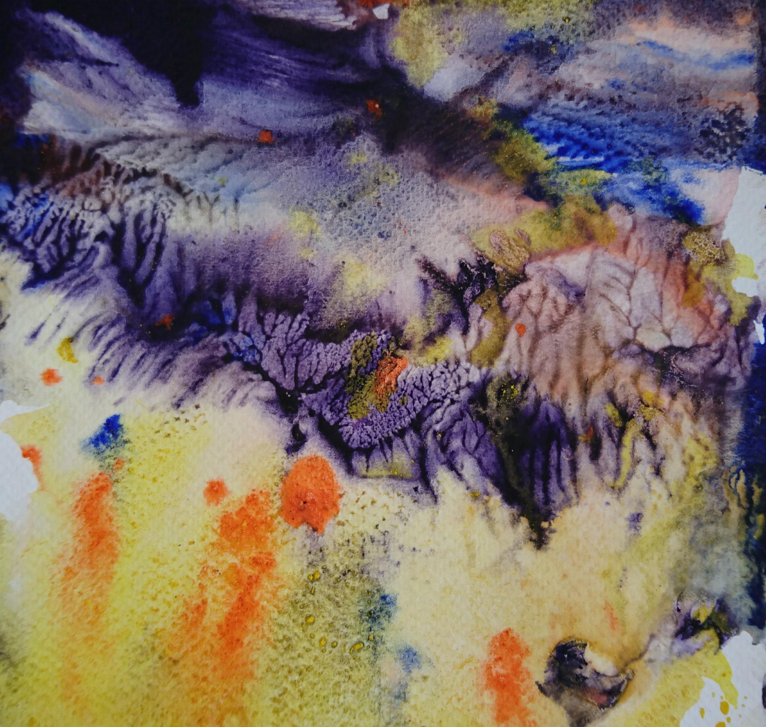Yu Zhao, Crépuscule, tempera/paper, 20x20cm, 2015