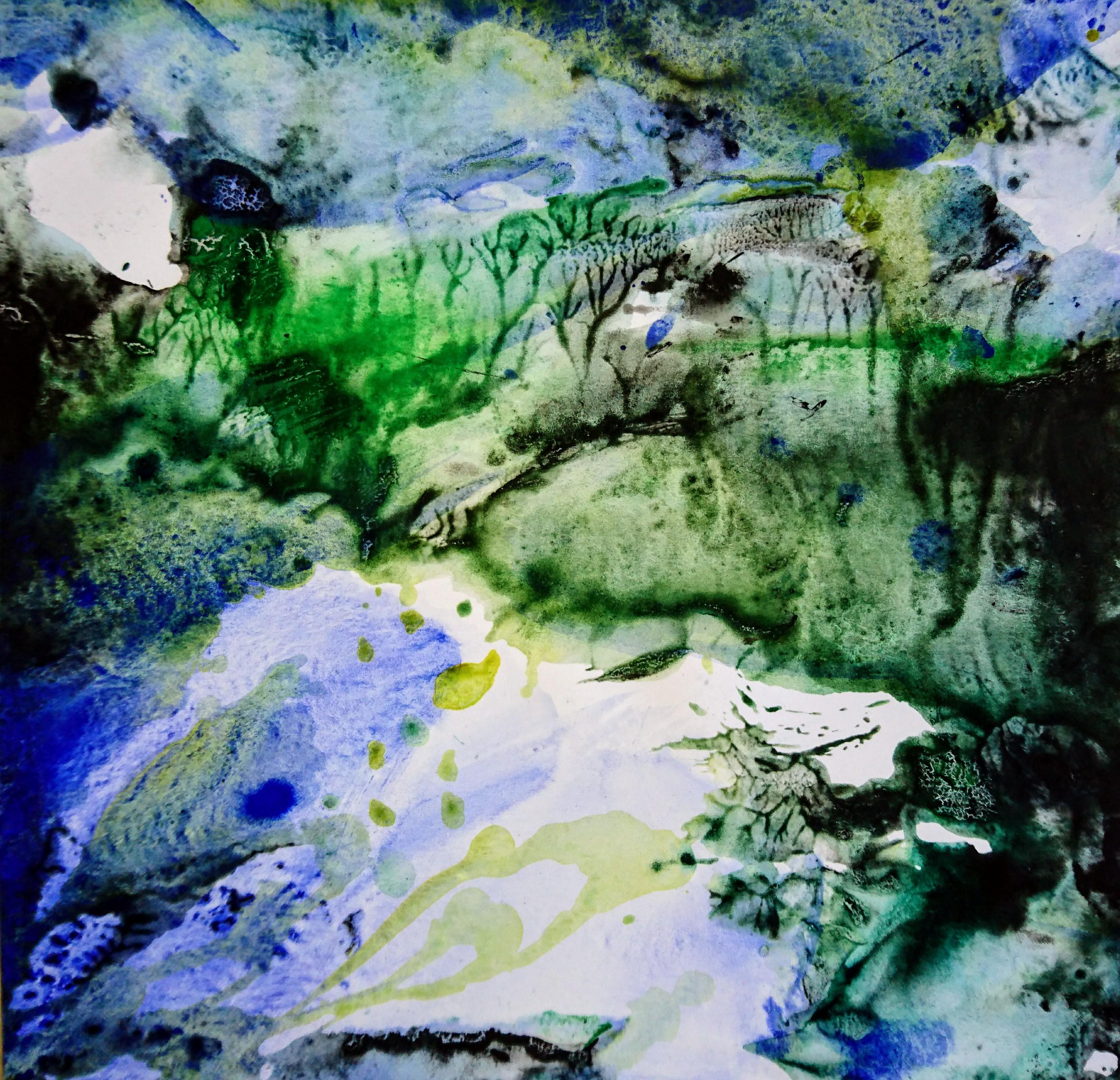 Yu Zhao, Etang, tempera/paper, 30x30cm, 2017