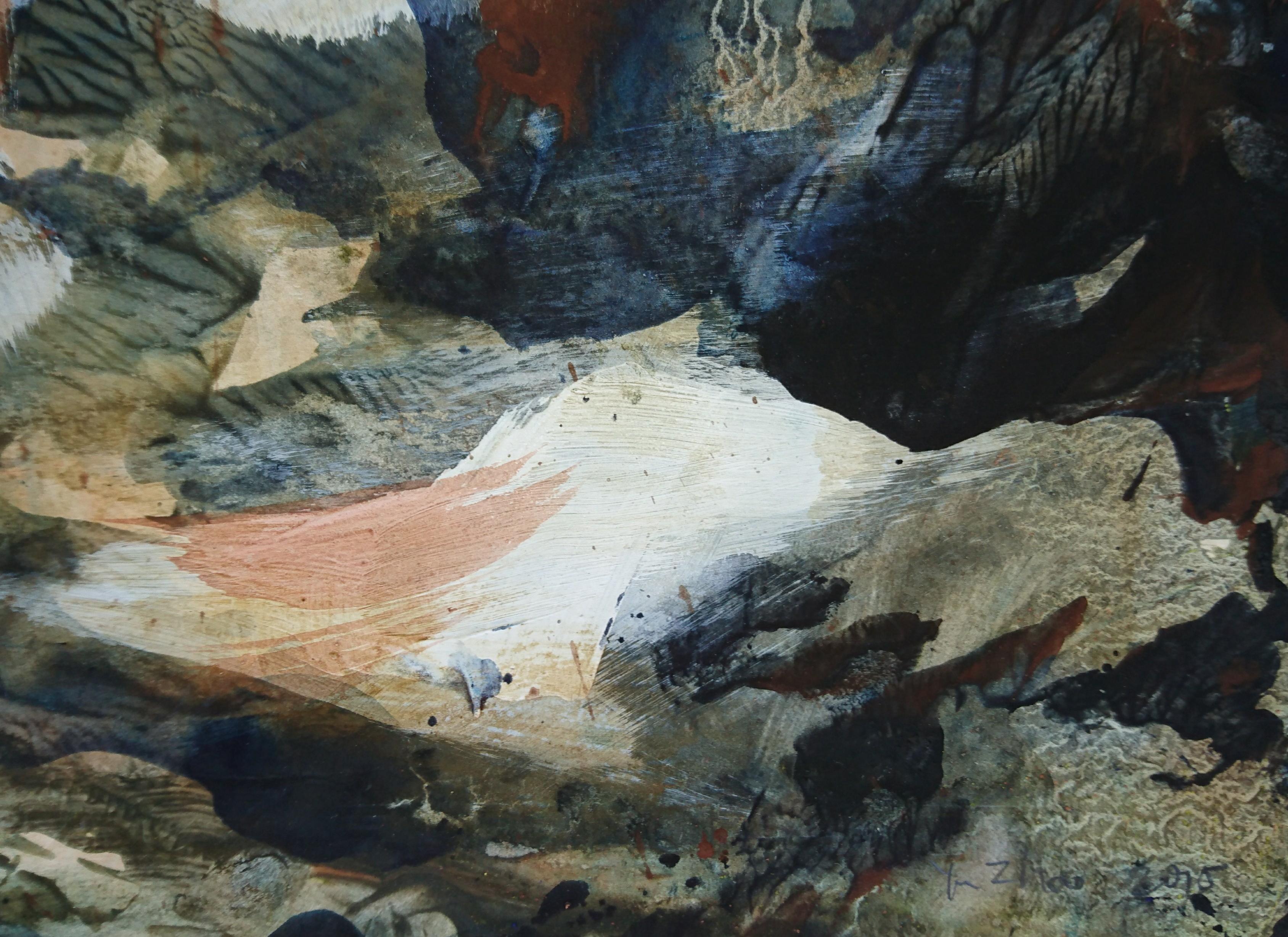 Yu Zhao, Forêt des cerfs, tempera/paper, 18x24cm, 2015