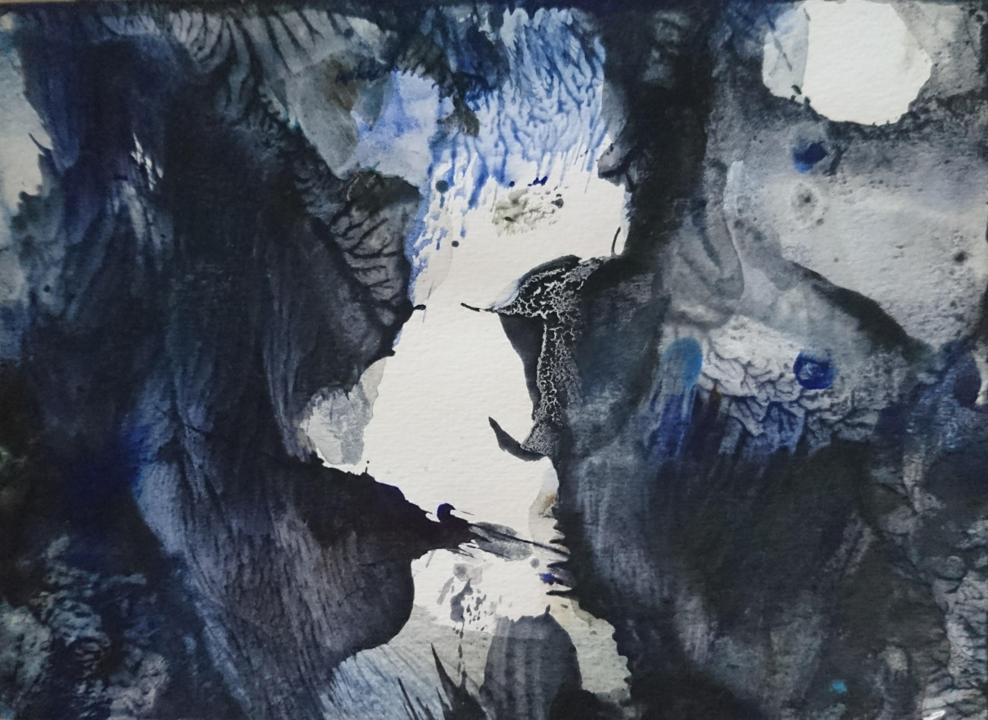 Yu Zhao, Grotte dans la mer, tempera/paper, 18x24cm, 2017, private collection