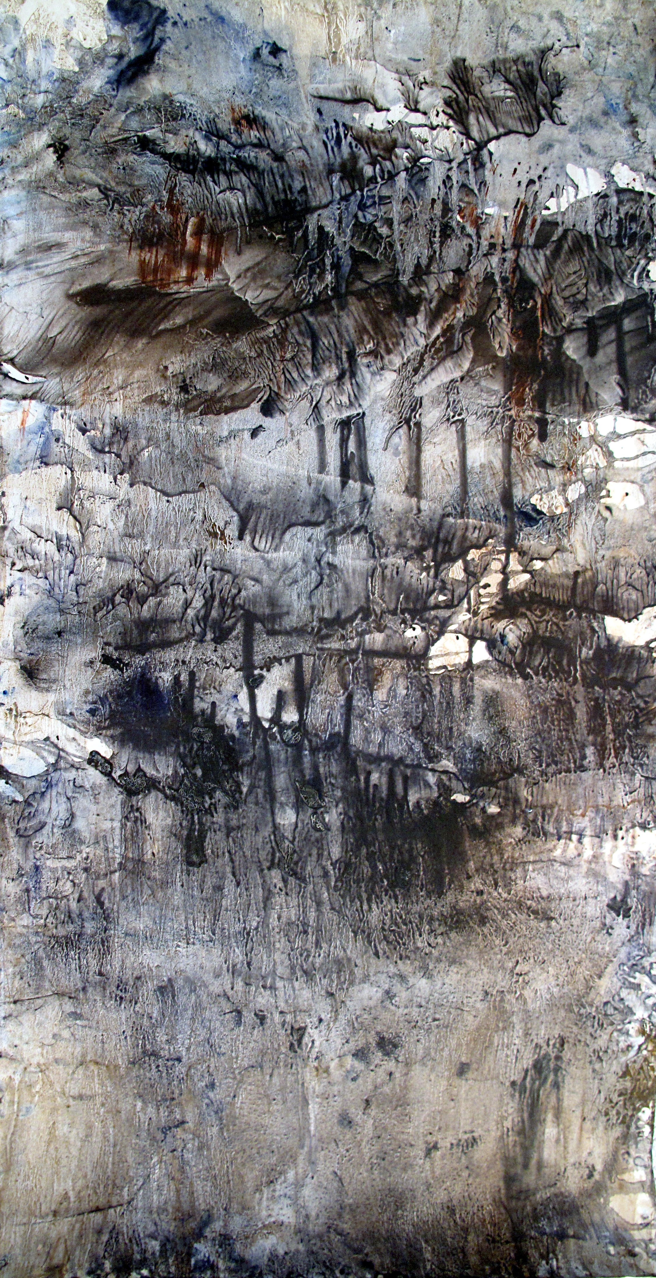 Yu Zhao, Grotte, tempera/paper/canvas, 150x75cm, 2015, private collection