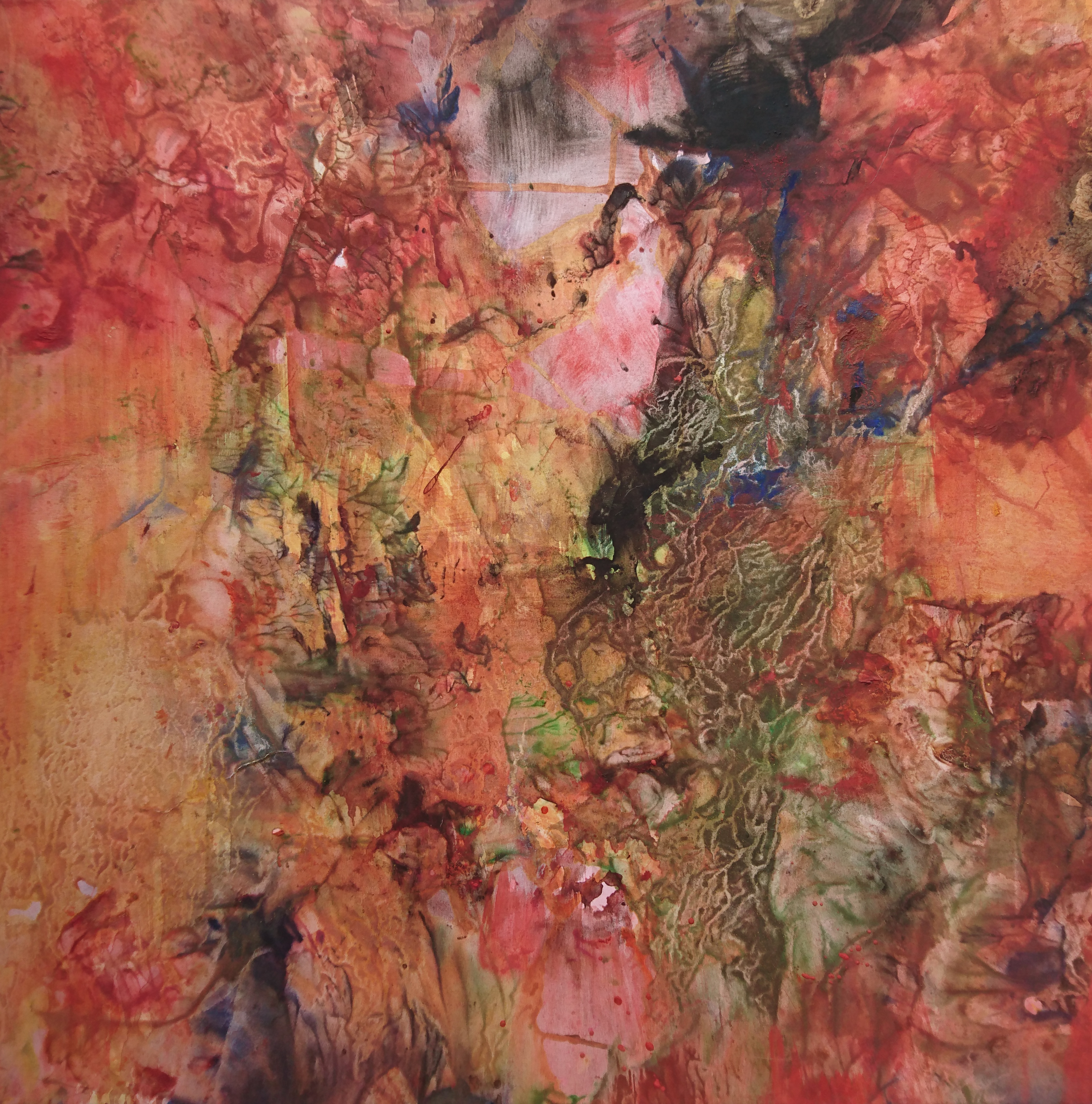 Yu Zhao, Jardin aux pivoines, tempera/paper/canvas, 50x50cm, 2017, private collection