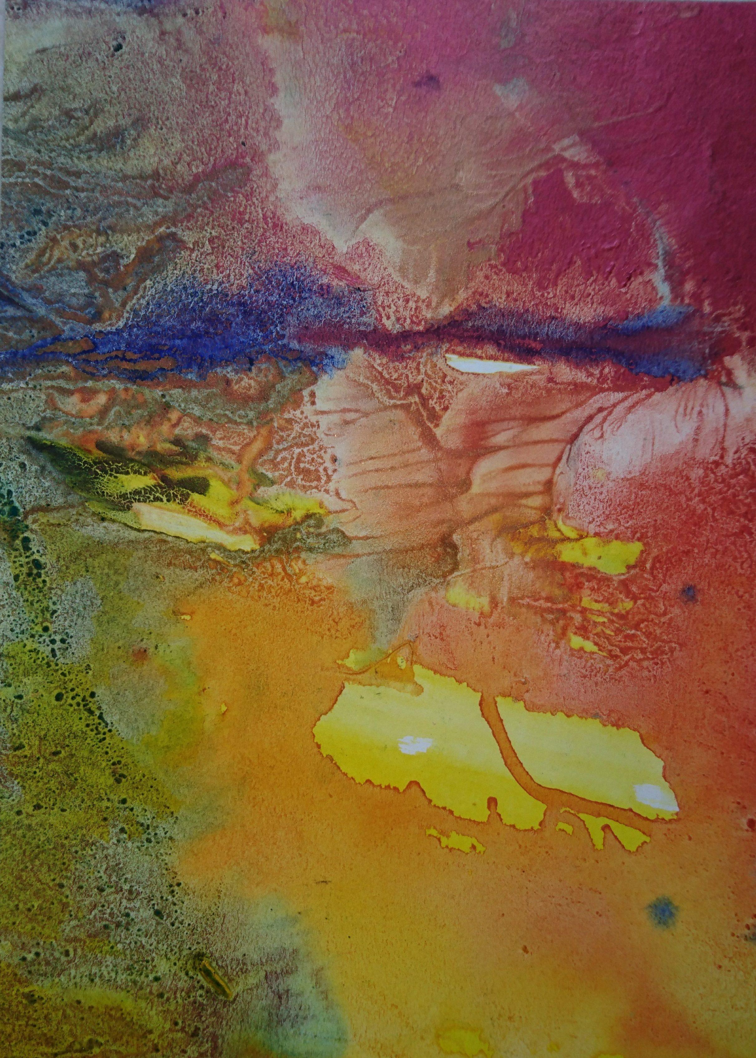 Lumière à l'horizon, tempera/paper, 24x30cm, 2017, private collection, Yu Zhao