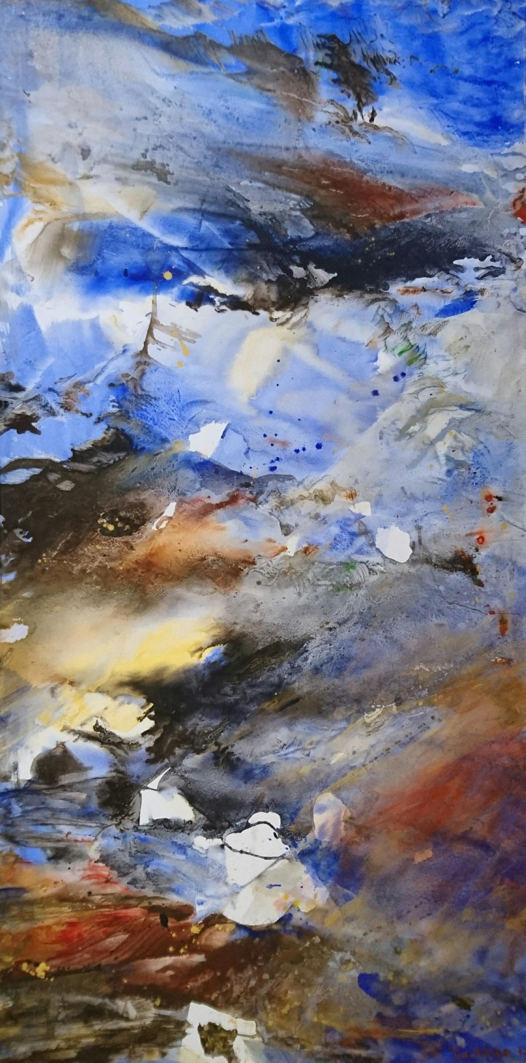Yu Zhao, Naissance de la lumière, tempera/paper/canvas, 150x75cm, 2017, collection of Thetis fondation, Venice