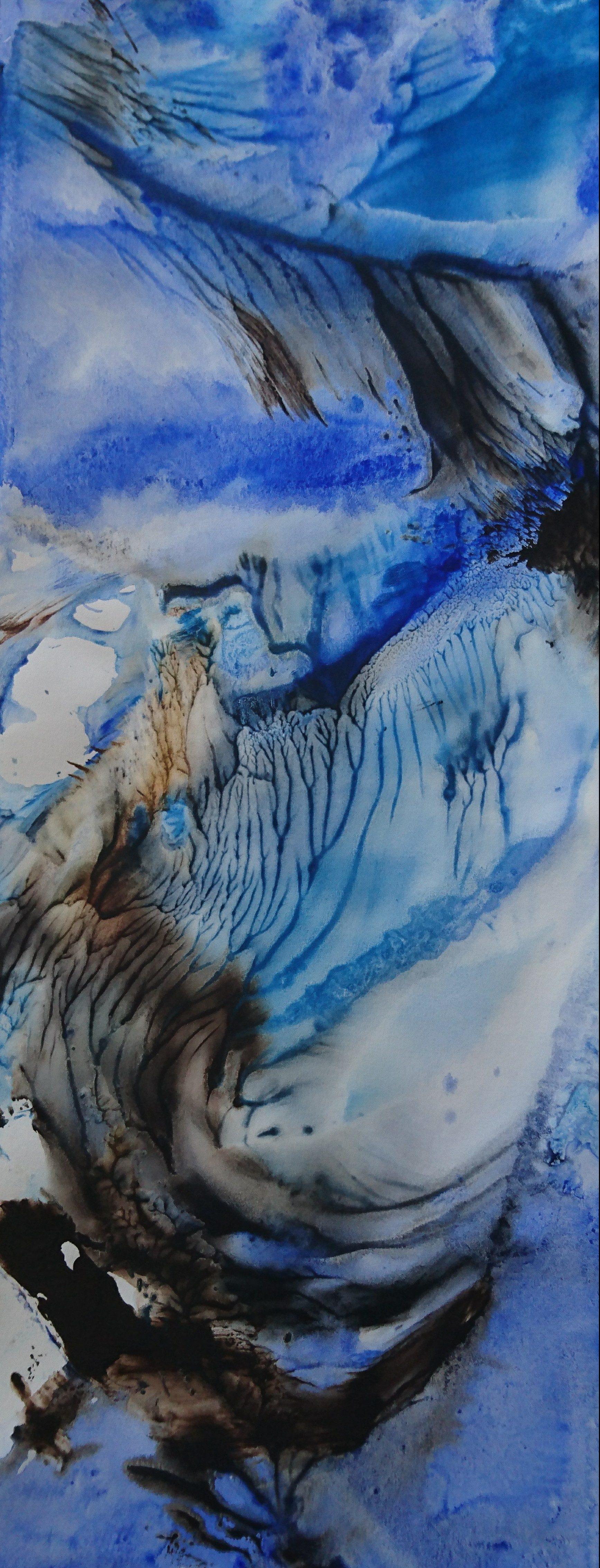 Yu Zhao, Tempête du beau jour, tempera/paper/canvas, 65x25cm, 2019