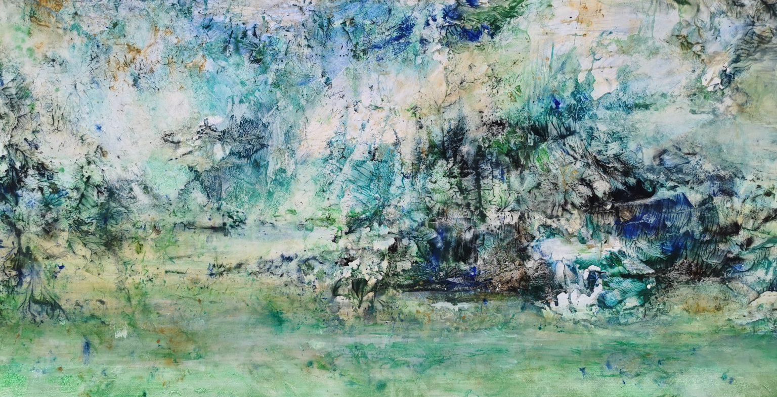 Ile idyllique, tempera sur papier marouflé sur toile, 150x75cm, Yu Zhao, 2020